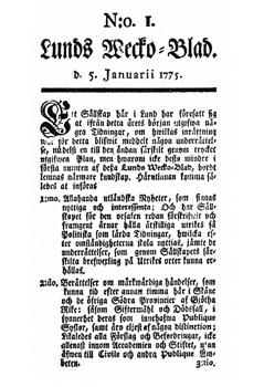 Lunds Wecko Blad No 1 5 Januarii 1775